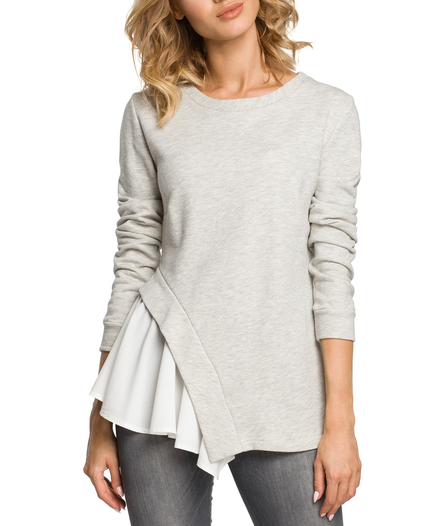 Grey cotton blend hem detail blouse Sale - made of emotion