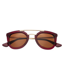 Ella red frame flat-top sunglasses
