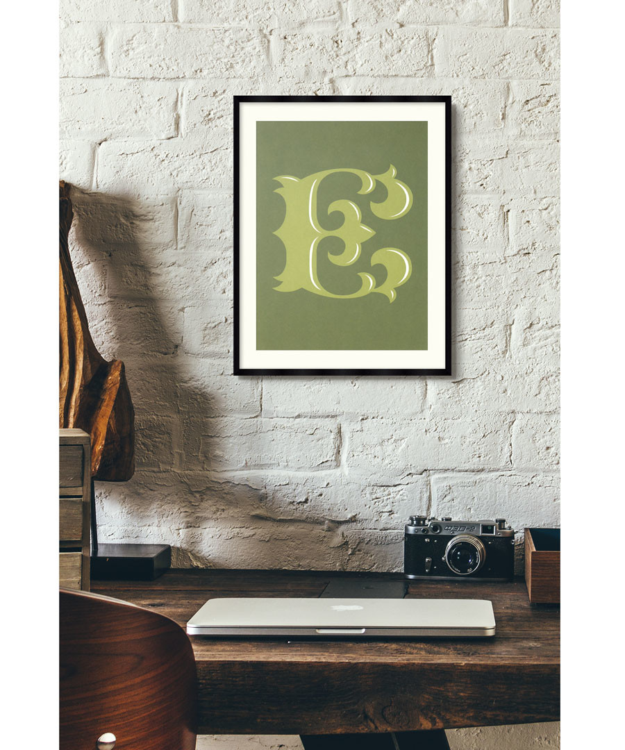Letter E green alphabet framed wall art Sale - wall art
