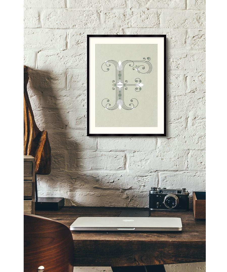 Letter F green alphabet framed wall art Sale - wall art