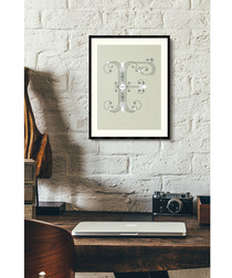 Letter F green alphabet framed wall art