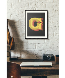 Letter G black alphabet framed wall art