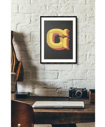 Letter G black alphabet framed wall art