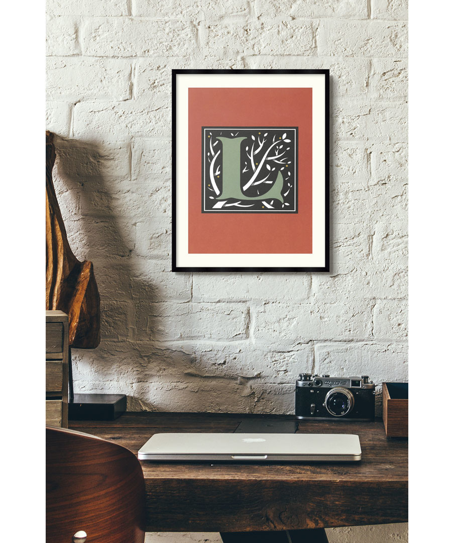 Letter L red alphabet framed wall art Sale - wall art