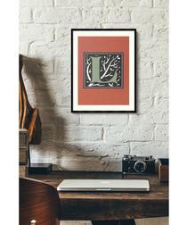 Letter L red alphabet framed wall art
