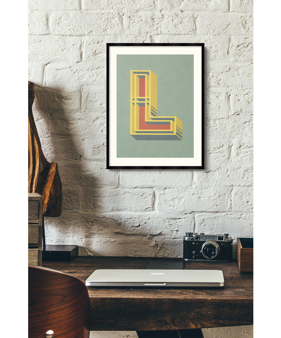 Letter L green alphabet framed wall art Sale - wall art