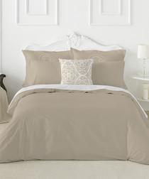 Liso taupe cotton double duvet set