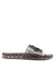 Women's black jelly slider sandals
