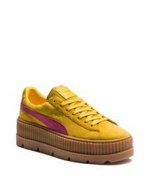 Mustard suede flatform cleated sneakers