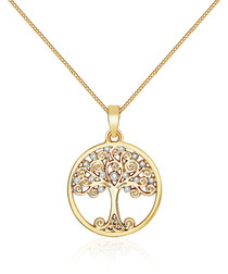 Gold-tone Swarovski tree necklace