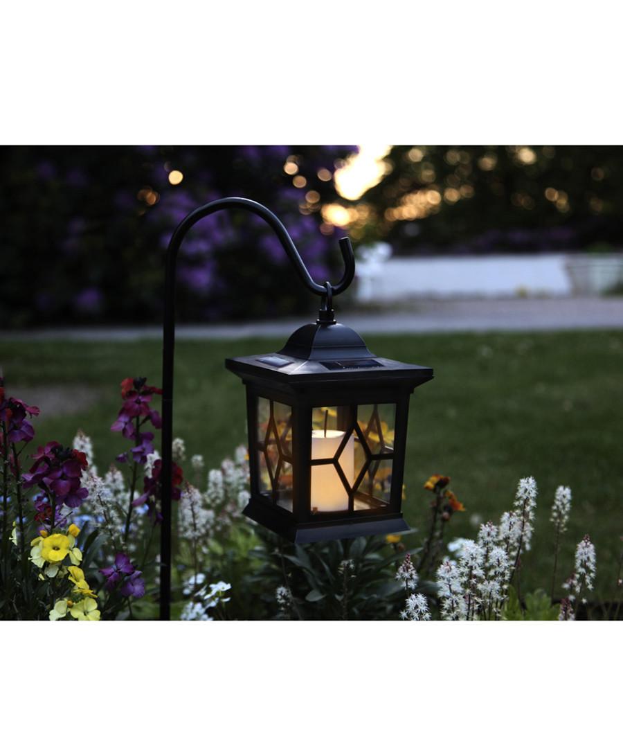 Black metal LED solar lantern 50cm Sale - solar lighting