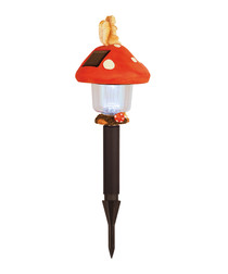Red & black mushroom LED path light