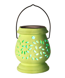 Green clay cut-out LED lantern 14cm