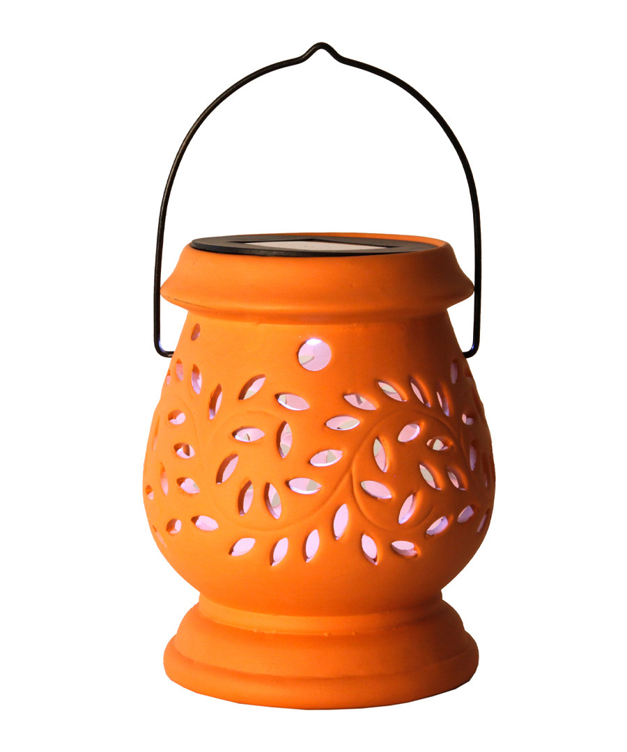 Terracotta clay cut-out LED lantern 14cm Sale - solar lighting