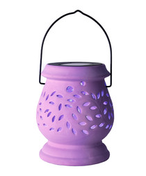 Lilac clay cut-out LED lantern 14cm