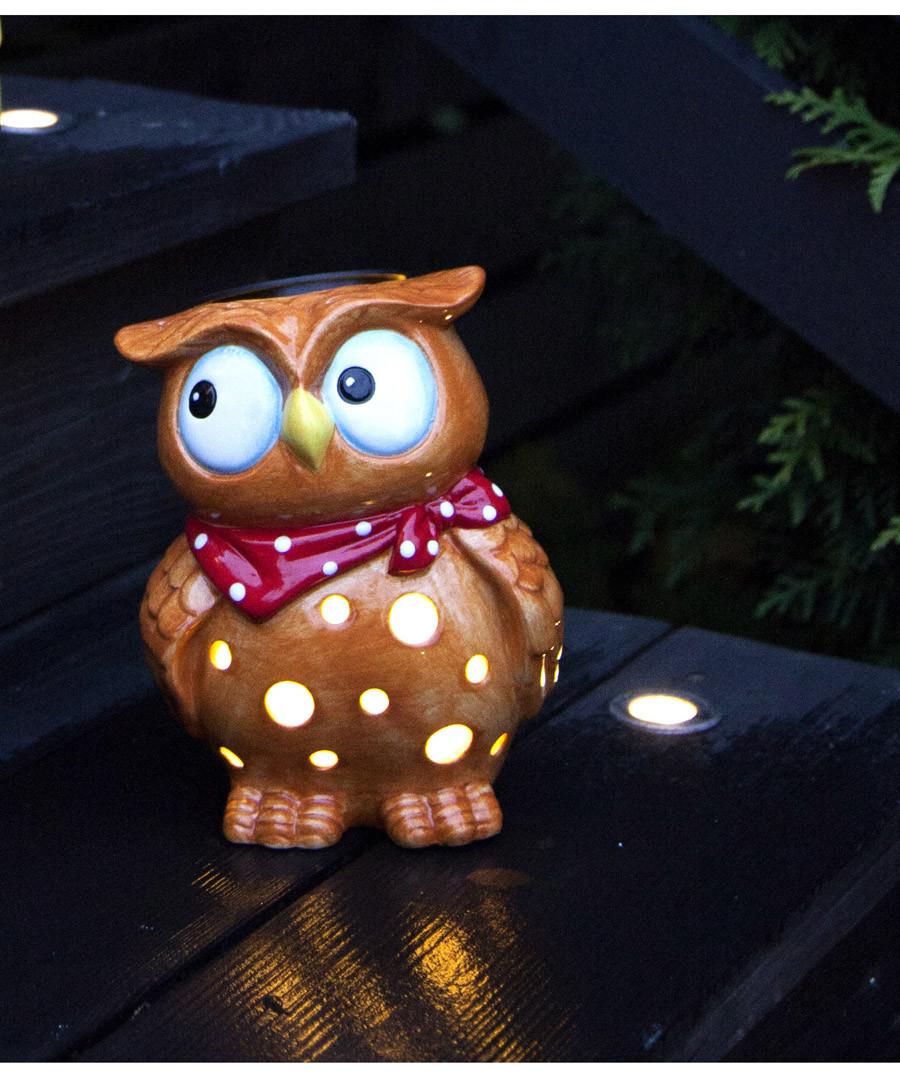 Tan & red ceramic LED owl lamp Sale - solar lighting