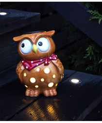 Tan & red ceramic LED owl lamp