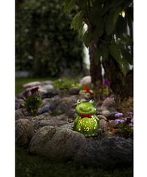 Green ceramic LED frog lamp
