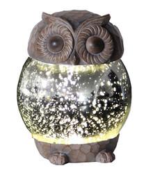 Brown LED owl lantern