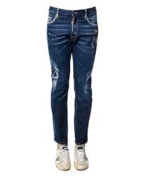 Blue cotton distressed jeans