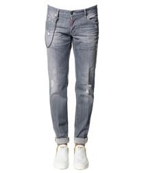Grey cotton blend stone wash jeans