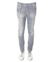 Grey pure cotton chain distressed jeans