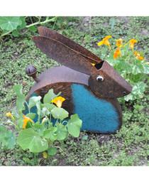 Brown metal small hare garden ornament