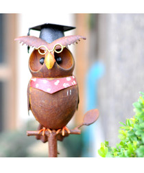 Brown metal owl garden ornament