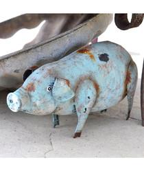 Sid metal pig garden ornament