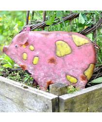 Petunia pig metal garden ornament
