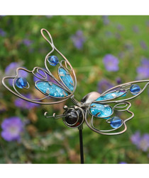 Blue metal butterfly garden ornament