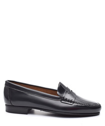 Women's Navy blue leather loafers