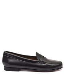 Women's Black leather loafers