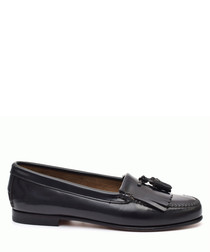 Women's Navy leather fringed loafers