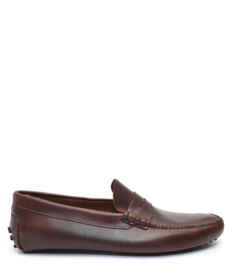 Men's Brown leather loafers Sale - moka saint