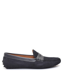 Men's Dark blue suede loafers