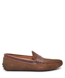 Light brown suede loafers