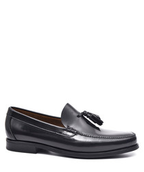 Men's Black leather tassel loafers