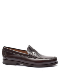 Men's Brown leather maple leaf loafers