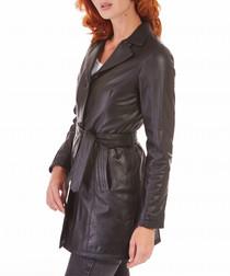 Black lambskin belted coat