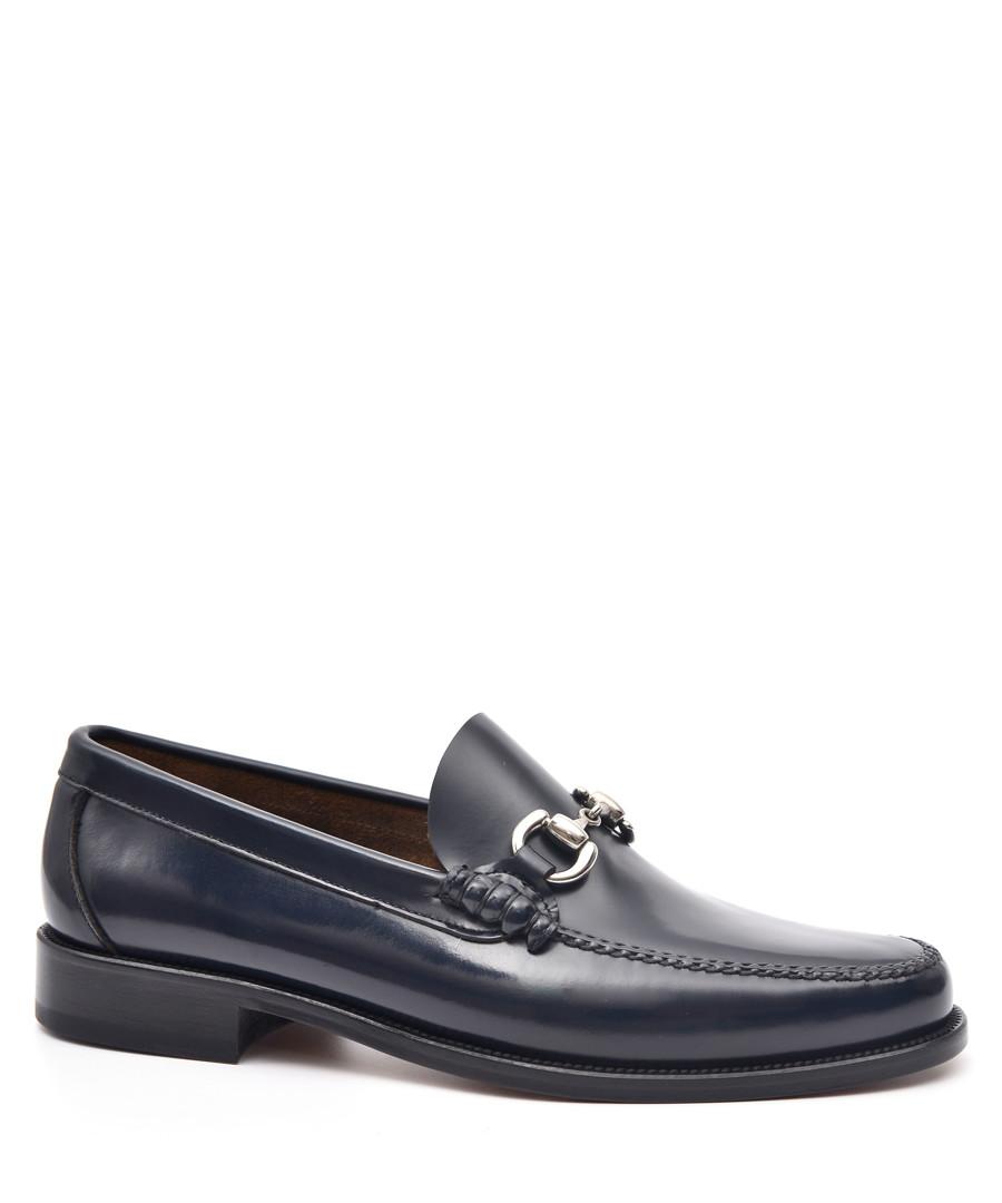 Men's Blue leather horsebit loafers Sale - moka saint