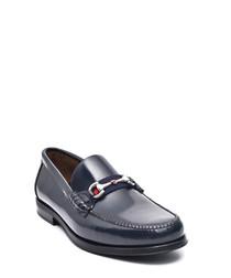 Blue leather horsebit loafers