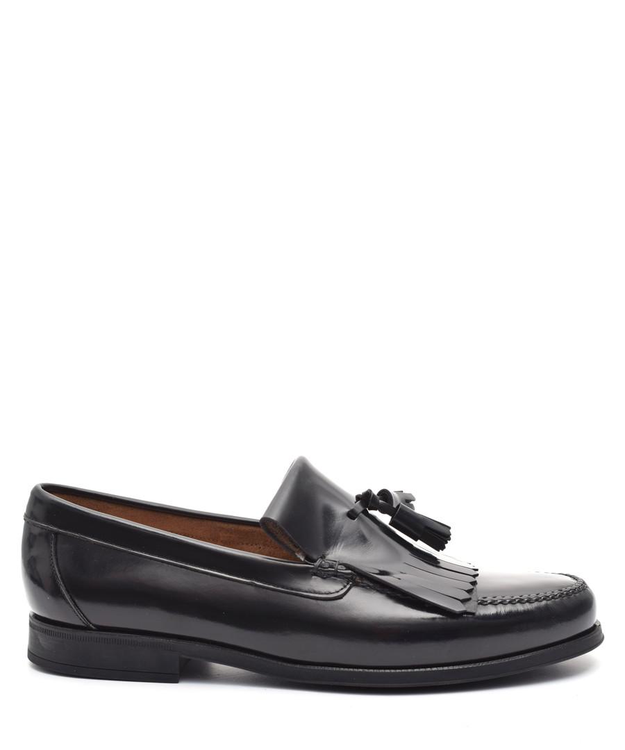 Men's Black leather tassel loafers Sale - Moka Saint