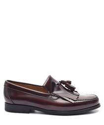 Men's Bordeaux leather tassel loafers