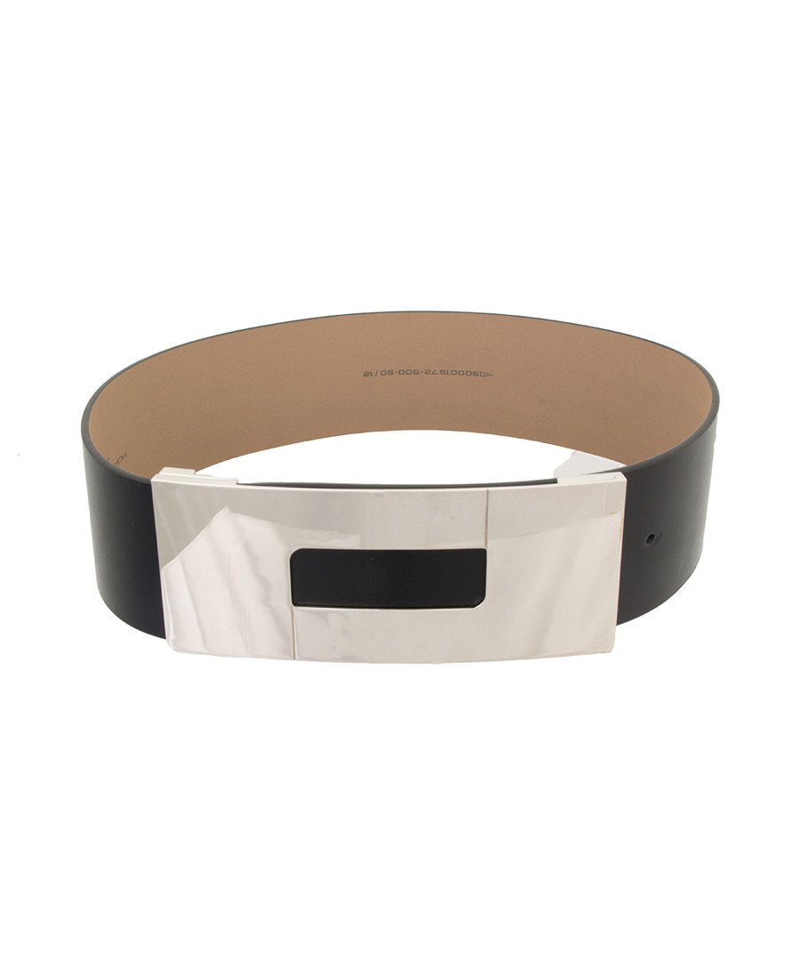 Black & silver-tone leather belt Sale - Porsche Design