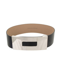 Men's Black & silver-tone leather belt