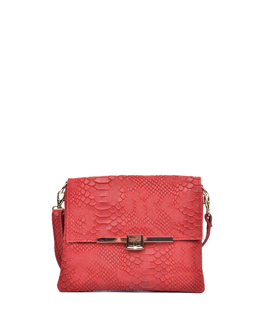 Red leather snake-effect clutch bag Sale - Sofia Cardoni