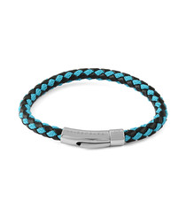 Black & blue leather braided bracelet