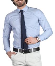 Grey cotton blend button-down shirt