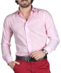 Pink cotton blend button-down shirt